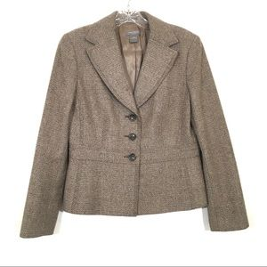 Ann Taylor Brown Tweed Wool Blend Blazer Jacket 6P